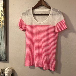 J Crew sheer knit top w hot pink stripes - S -EUC